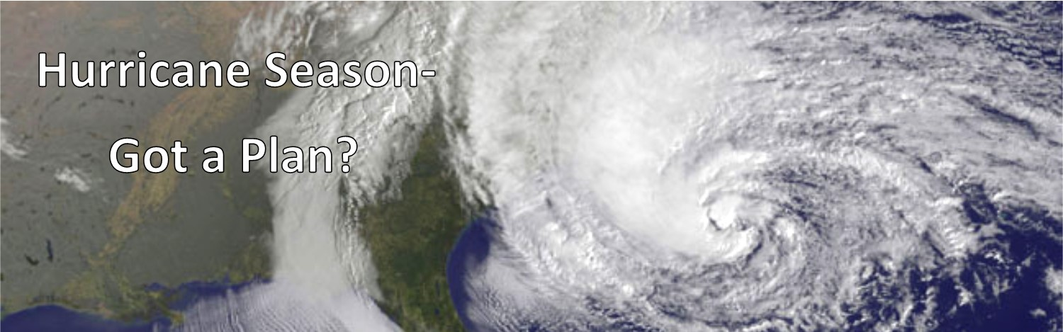 Satellite image of a hurricane impacting coast to link to emergency preparedness page.