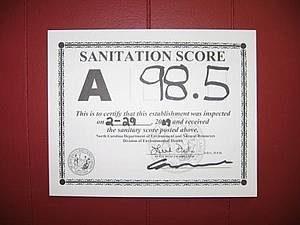 Example of a sanitation grade card.