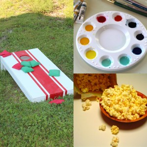photo of cornhole boards, painting palette, and popcorn for movie night