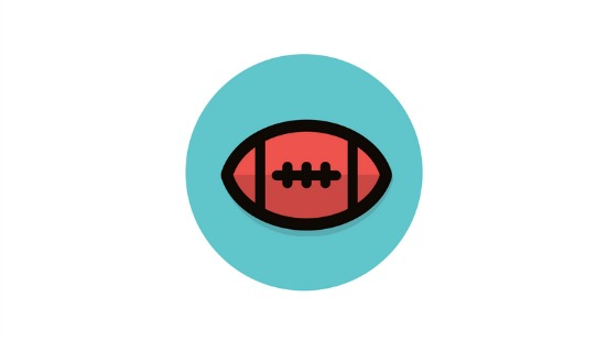 football on a blue circle background