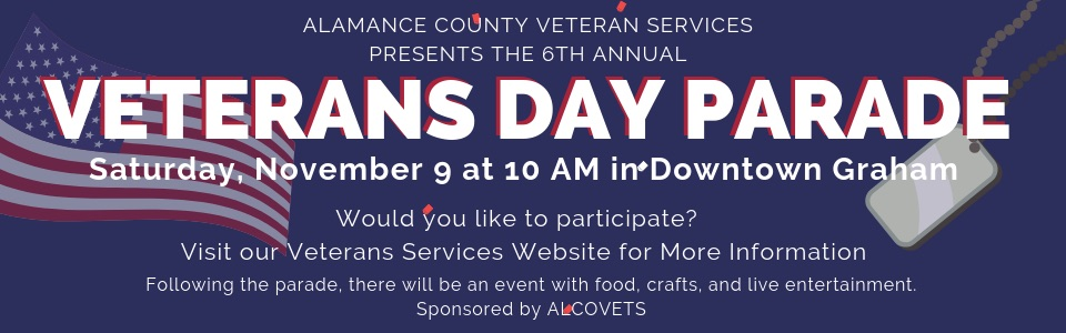 Banner Ad for 2019 Veterans Parade - Click to learn more
